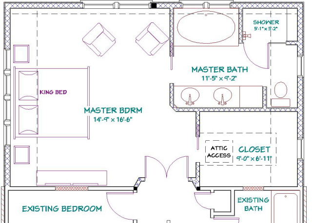 The design challenges presented included for Master bath floor plans